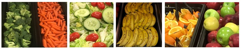 fruits and veggies at lunch